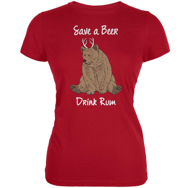 Save a Beer Drink Rum Red Juniors Soft T-Shirt