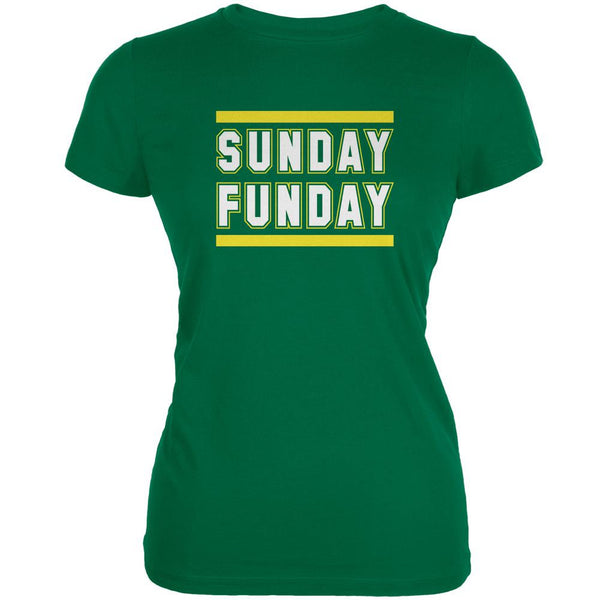 Sunday Funday Green Bay Kelly Green Juniors Soft T-Shirt