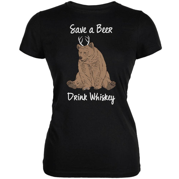 Save a Beer Drink Whiskey Black Juniors Soft T-Shirt