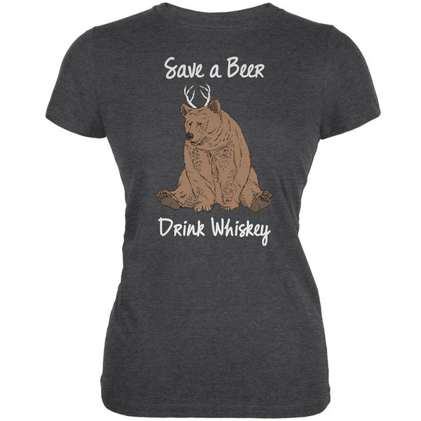 Save a Beer Drink Whiskey Dark Heather Juniors Soft T-Shirt