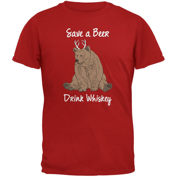 Save a Beer Drink Whiskey Red Adult T-Shirt