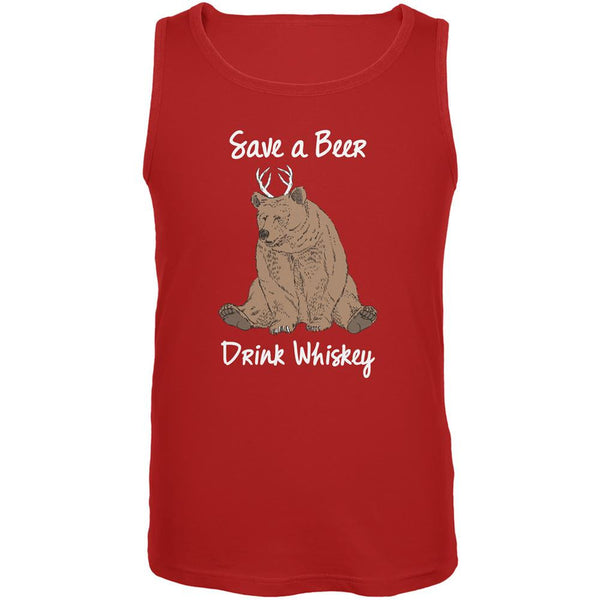 Save a Beer Drink Whiskey Red Adult Tank Top