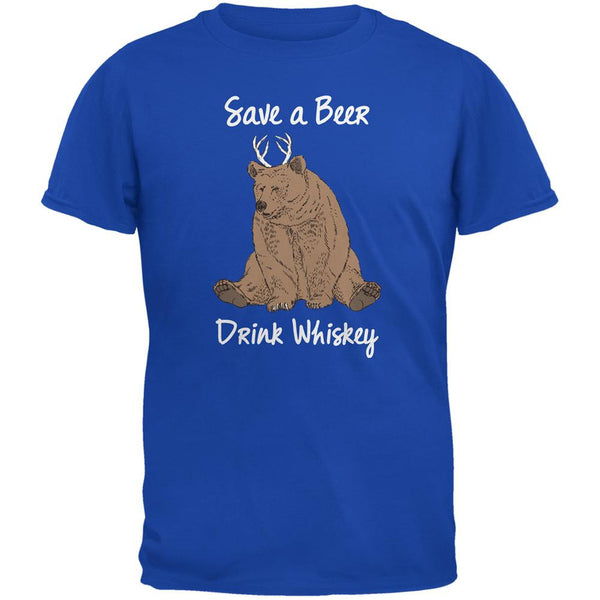 Save a Beer Drink Whiskey Royal Adult T-Shirt