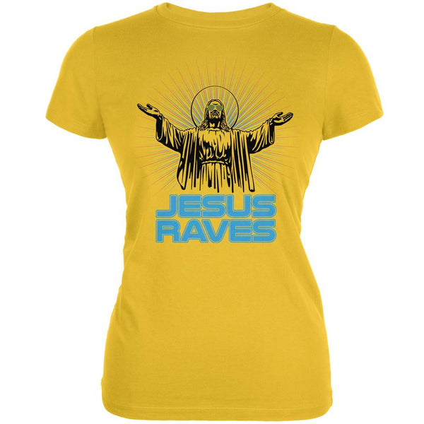 Jesus Raves Bright Yellow Juniors Soft T-Shirt