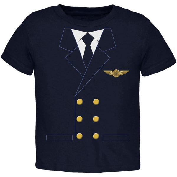 Halloween Airline Airplane Pilot Navy Toddler T-Shirt