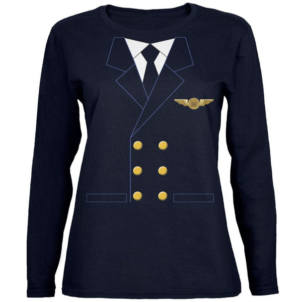 Halloween Airline Airplane Pilot Navy Womens Long Sleeve T-Shirt