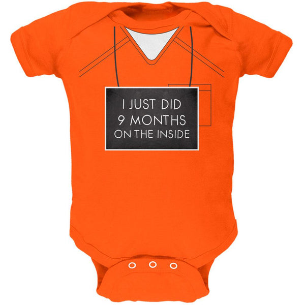 9 Months Inside Prisoner Inmate Costume Orange Soft Baby One Piece