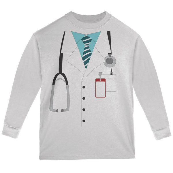 Halloween Doctor Costume White Youth Long Sleeve T-Shirt