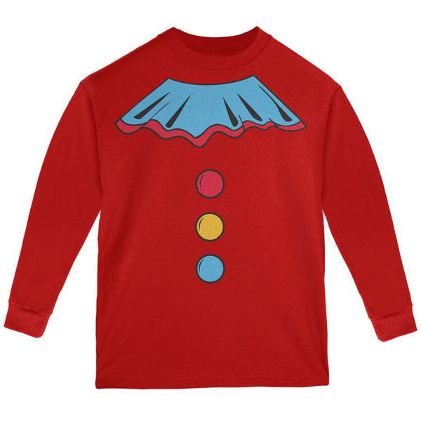 Halloween Clown Costume Red Youth Long Sleeve T-Shirt