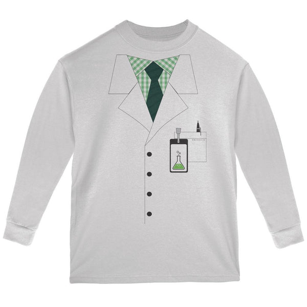 Halloween Scientist Costume White Youth Long Sleeve T-Shirt