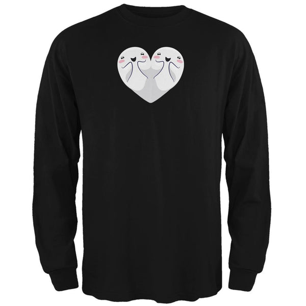 Halloween Heart Shaped Ghosts Black Adult Long Sleeve T-Shirt