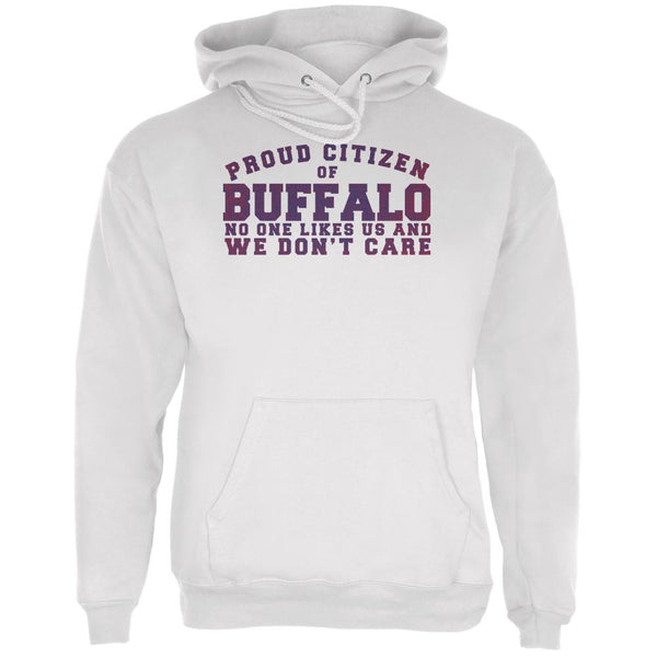 Proud No One Likes Buffalo White Adult Hoodie