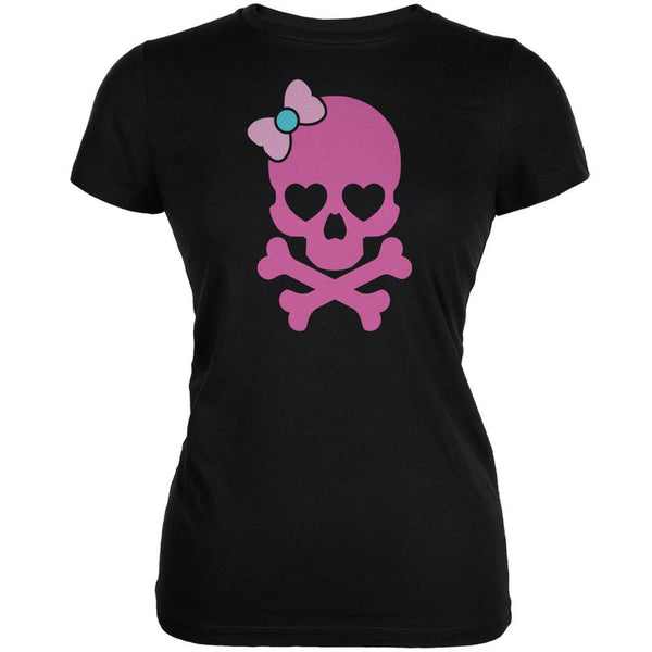 Halloween Pink Skull and Bow Black Juniors Soft T-Shirt