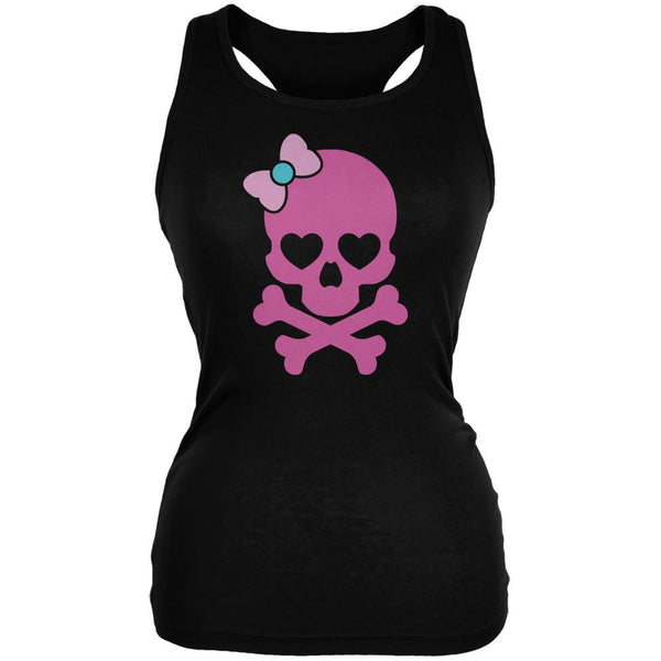 Halloween Pink Skull and Bow Black Juniors Soft Tank Top
