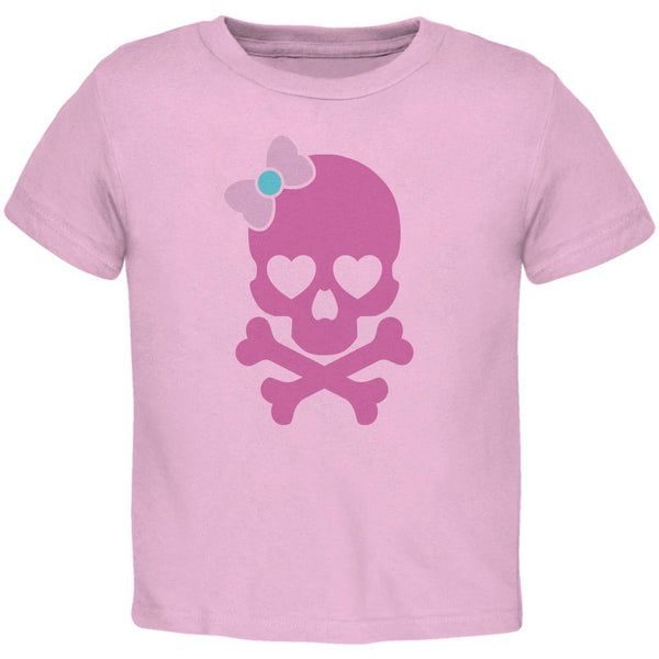 Halloween Pink Skull and Bow Light Halloween Pink Toddler T-Shirt