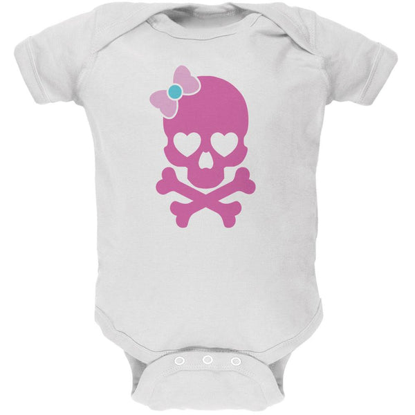 Halloween Pink Skull and Bow White Soft Baby One Piece