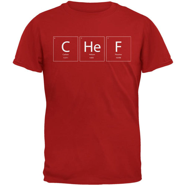 Chef Periodic Table Red Adult T-Shirt