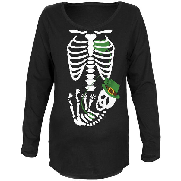 Halloween Irish Baby Skeleton Black Maternity Soft Long Sleeve T-Shirt