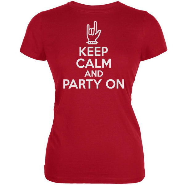 Keep Calm Party On Red Juniors Soft T-Shirt