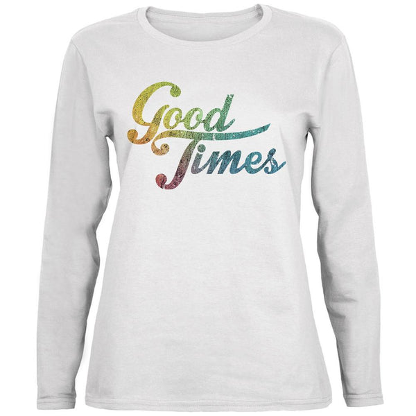 Good Times White Womens Long Sleeve T-Shirt