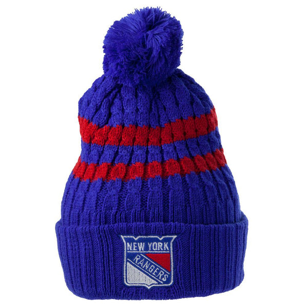 New York Rangers - Logo Blue Bird Adult Pom Pom Knit Hat
