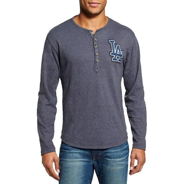 Los Angeles Dodgers - Chest Logo Primo Adult Henley Long Sleeve T-Shirt