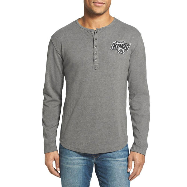 Los Angeles Kings - Chest Logo Primo Adult Henley Long Sleeve T-Shirt