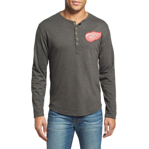 Detroit Red Wings - Chest Logo Primo Adult Henley Long Sleeve T-Shirt