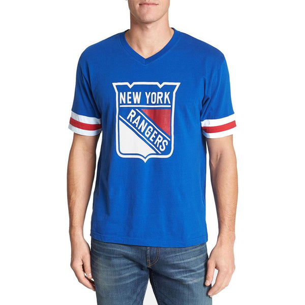 New York Rangers - Logo Hat Trick Adult Jersey T-Shirt