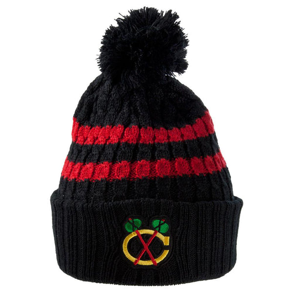 Chicago Blackhawks - Logo Blue Bird Adult Pom Pom Knit Hat