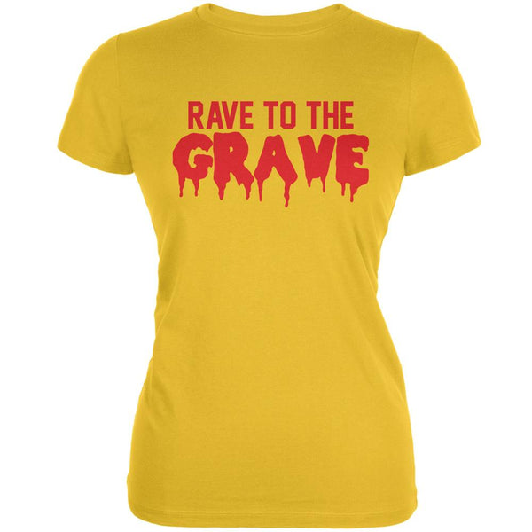 Rave To The Grave Bright Yellow Juniors Soft T-Shirt