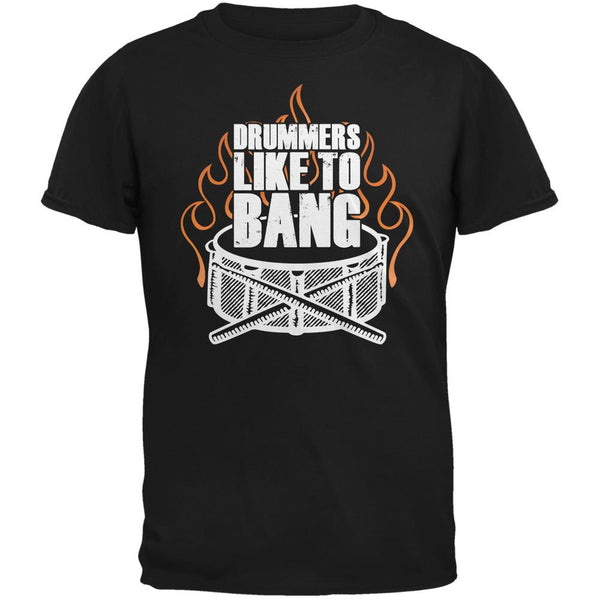 Drummers Like To Bang Black Adult T-Shirt