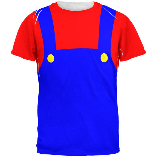 Halloween Italian Red Plumber Costume All Over Adult T-Shirt