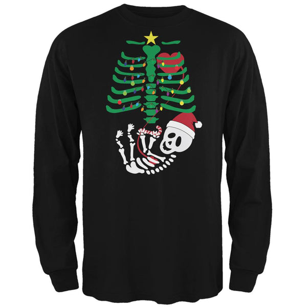 Christmas Tree Baby Skeleton Candy Cane Black Adult Long Sleeve T-Shirt
