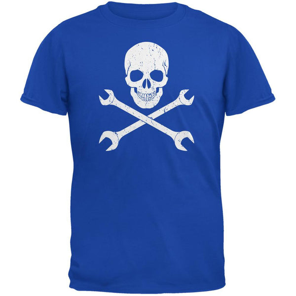 Automotive Skull And Wrenches Royal Adult T-Shirt