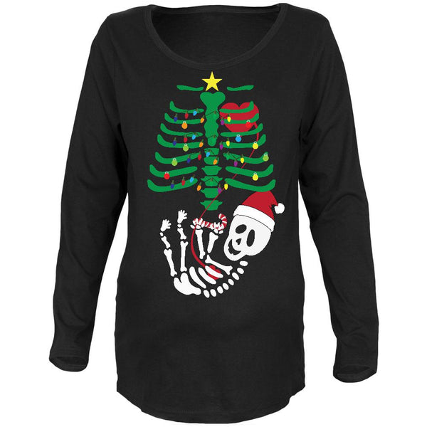 Christmas Tree Baby Skeleton Candy Cane Black Maternity Soft Long Sleeve T-Shirt