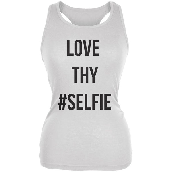 Love Thy Hashtag Selfie White Juniors Soft Tank Top