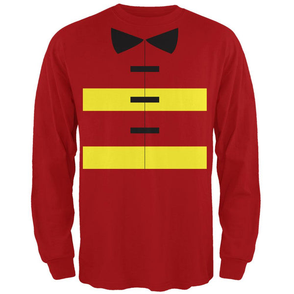 Halloween Fireman Costume Red Adult Long Sleeve T-Shirt