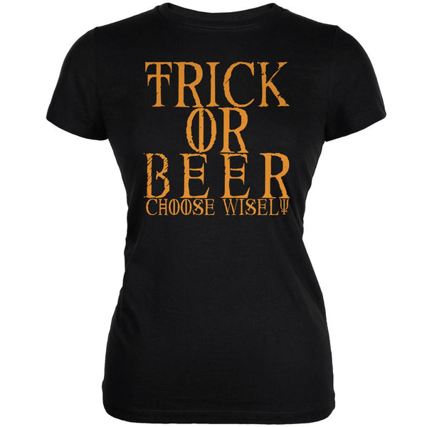 Halloween Trick or Beer Black Juniors Soft T-Shirt
