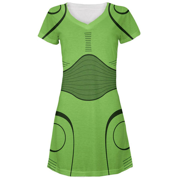 Halloween Cyborg Trooper Costume Green All Over Juniors V-Neck Dress