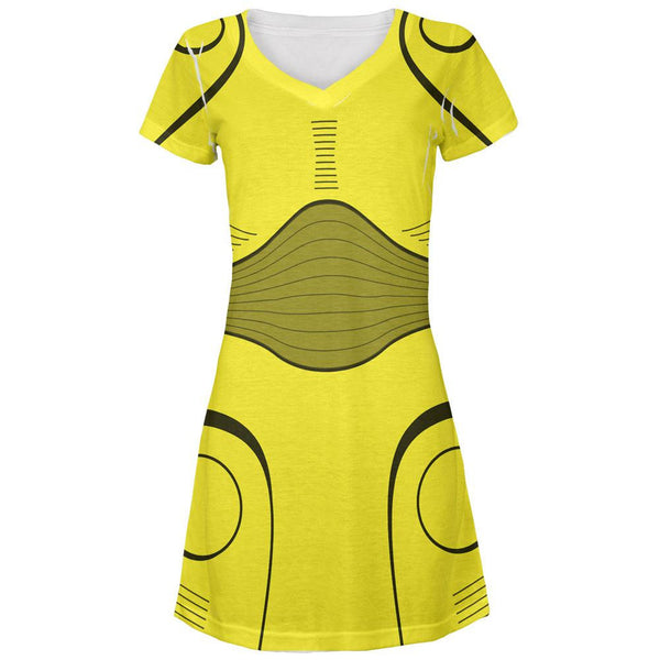 Halloween Cyborg Trooper Costume Yellow All Over Juniors V-Neck Dress