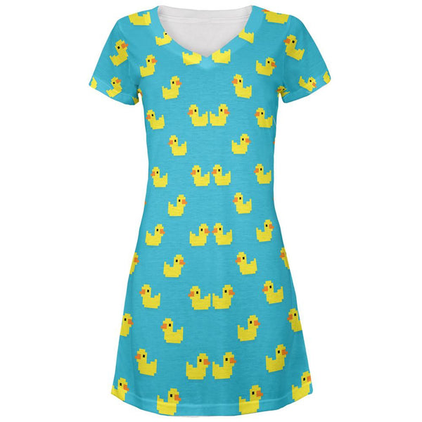 8 Bit Rubber Ducks All Over Juniors V-Neck Dress