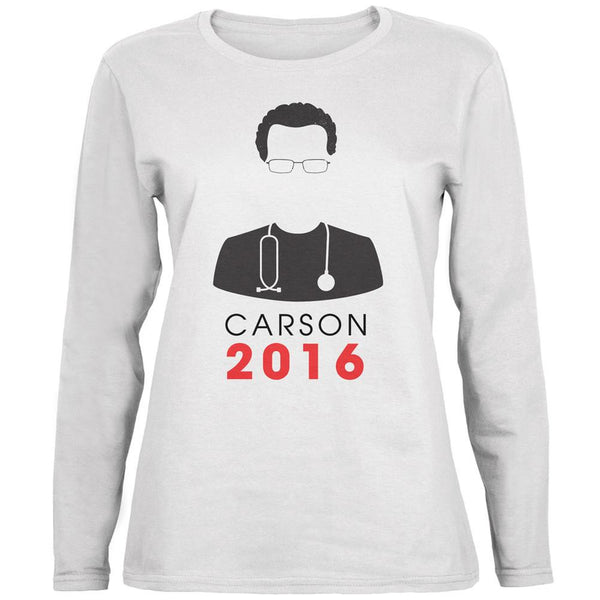 Election 2016 Ben Carson Minimalist White Womens Long Sleeve T-Shirt