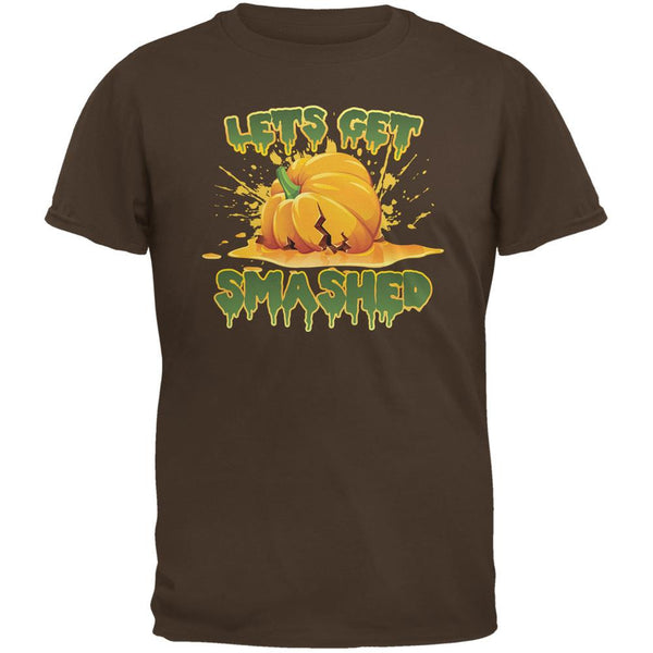 Halloween Pumpkin Lets Get Smashed Brown Adult T-Shirt