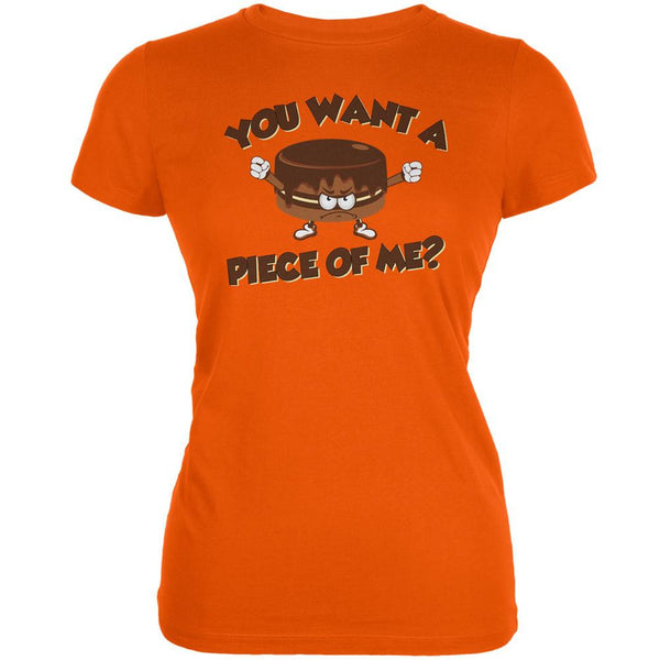 Funny Cake Want a Piece Of Me Orange Juniors Soft T-Shirt