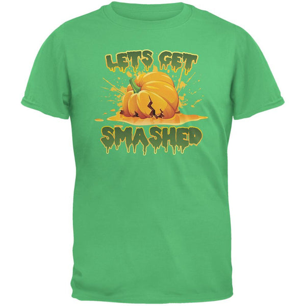Halloween Pumpkin Lets Get Smashed Irish Green Adult T-Shirt