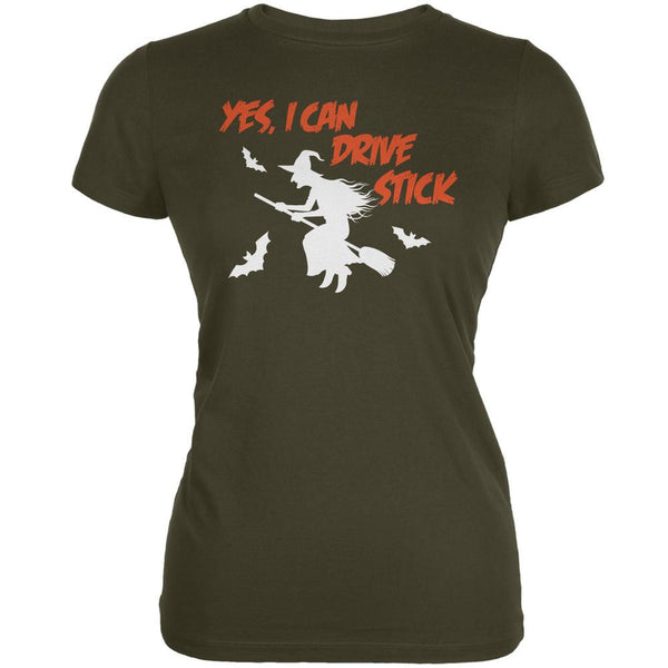 Halloween Witch I Can Drive Stick Army Juniors Soft T-Shirt