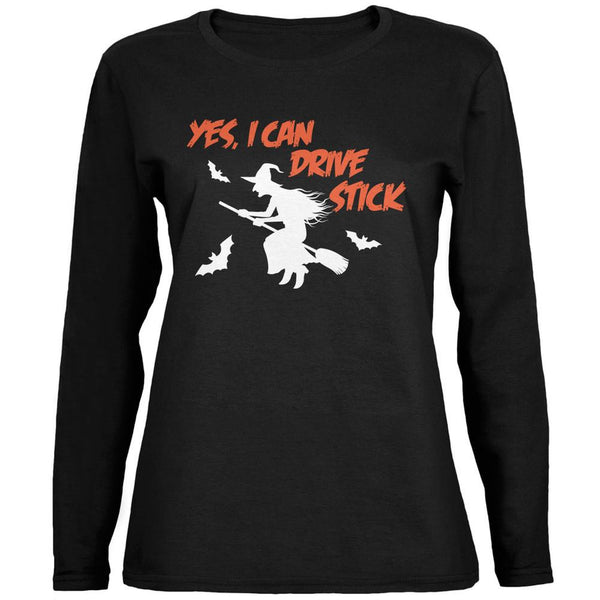 Halloween Witch I Can Drive Stick Black Womens Long Sleeve T-Shirt