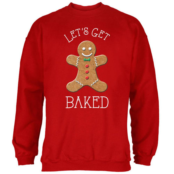 Christmas Gingerbread Man Let's Get Baked Red Adult Sweatshirt