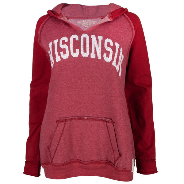 Wisconsin Badgers - Distressed Arch Logo Juniors Relaxed Slit-Neck Hoodie